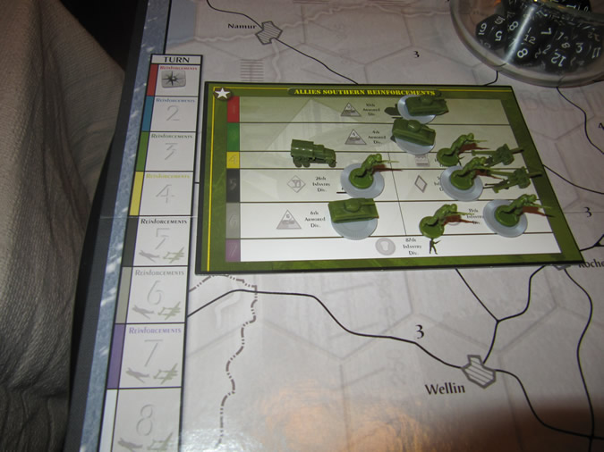 Axis & Allies Battle of the Bulge - Start of the Game - Loaded Reinforcement Cards