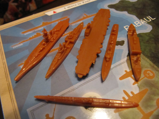 Axis & Allies Guadalcanal: Japanese navy with cruiser.