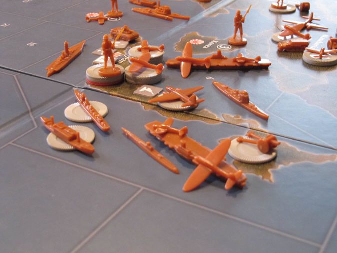 Axis & Allies Pacific 1940 - New look anti-aircraft along with new navy and air bases.
