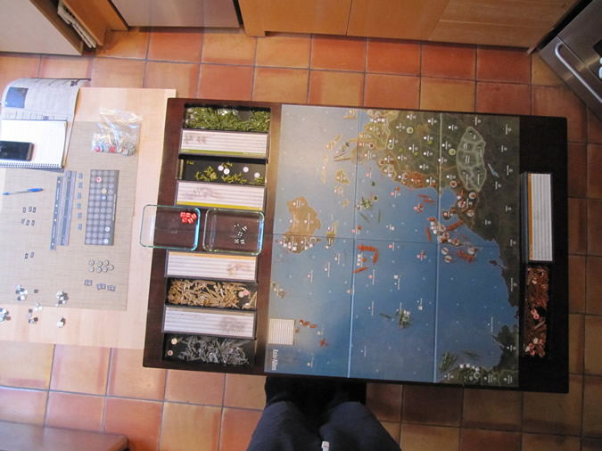 Axis & Allies Pacific 1940 - Start of game setup.