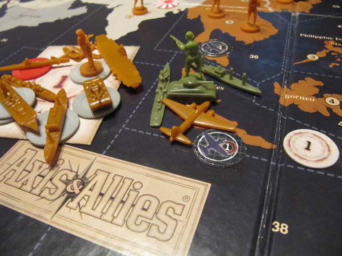 Axis & Allies Revised: Japan attack with air-marker and task force cards in use