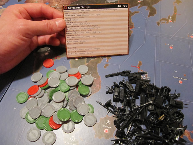Axis & Allies 1942 - New coloured plastic chips for counts.