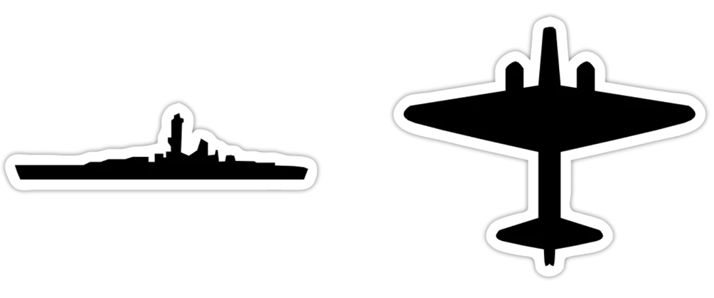 Axis & Allies Stickers - Battleship and Bomber